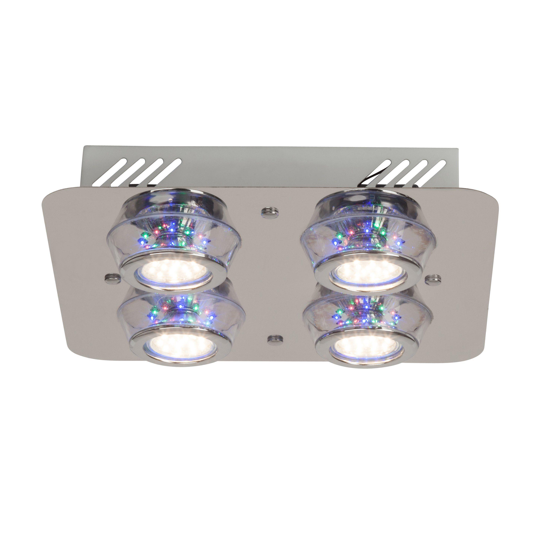 Brilliant Leuchten Kelly LED RGB Deckenleuchte, 4-flammig chrom mit Fernbedienung