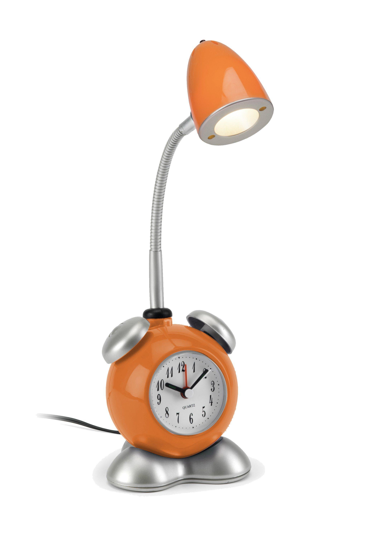 Brilliant Leuchten Pharrell LED Tischleuchte mit Wecker orange