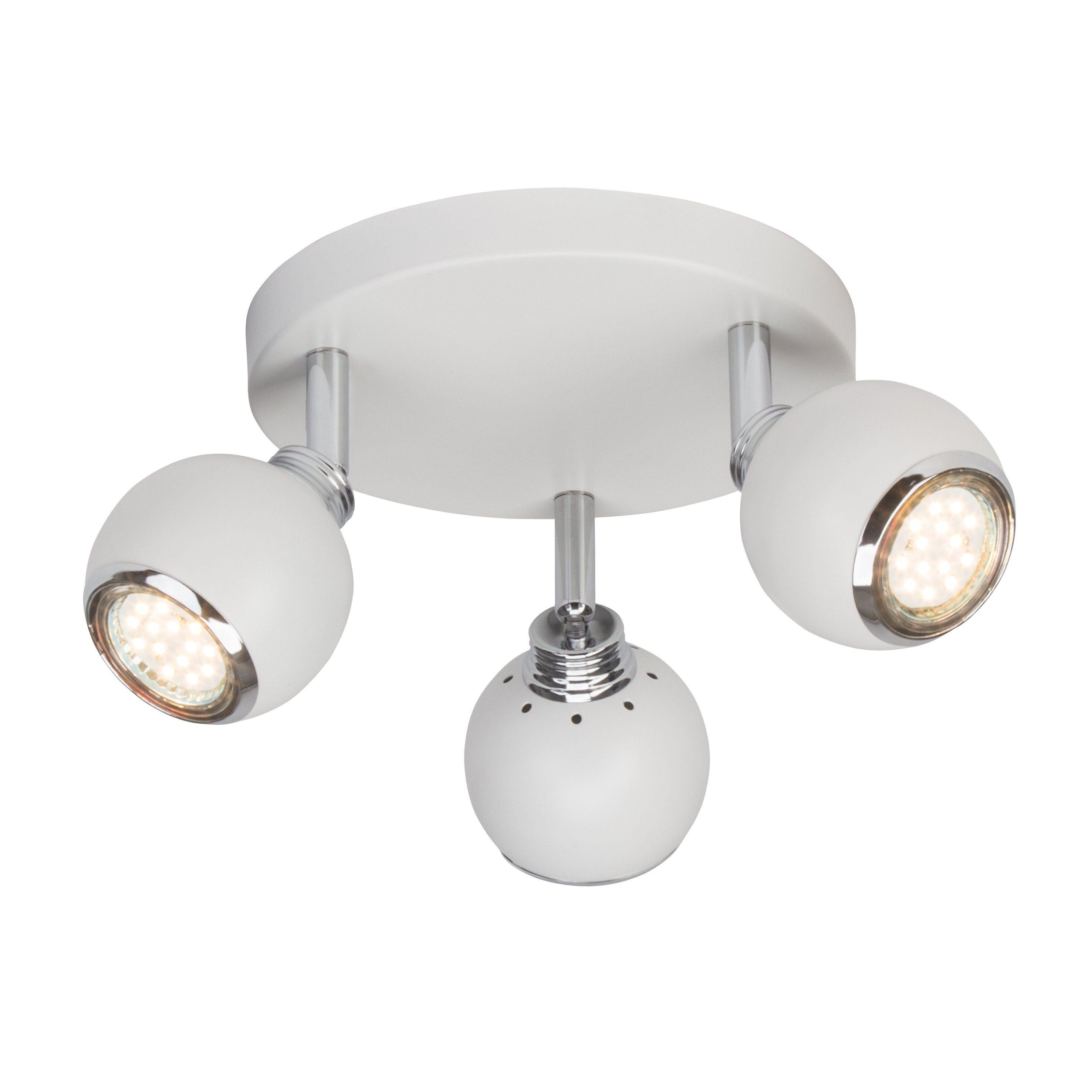 Brilliant Leuchten Ina LED Spotrondell, 3-flammig weiß/chrom