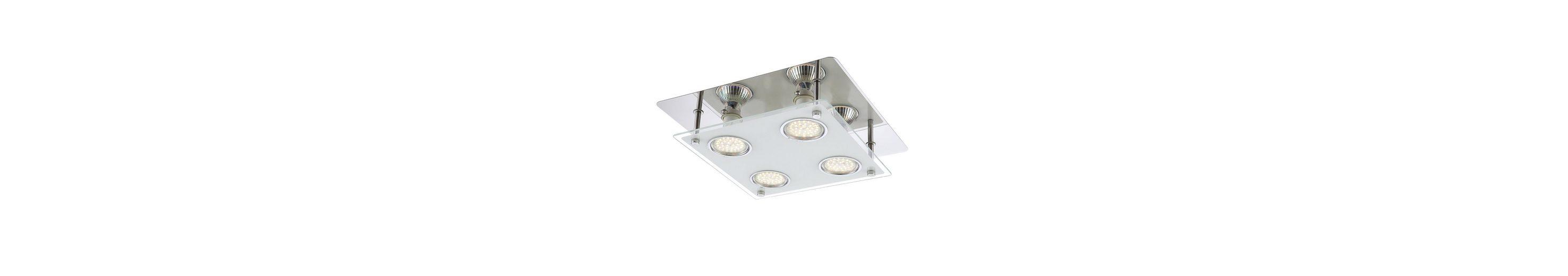 Brilliant Leuchten Gudy LED Deckenleuchte, 4-flammig chrom/transparent mattglas