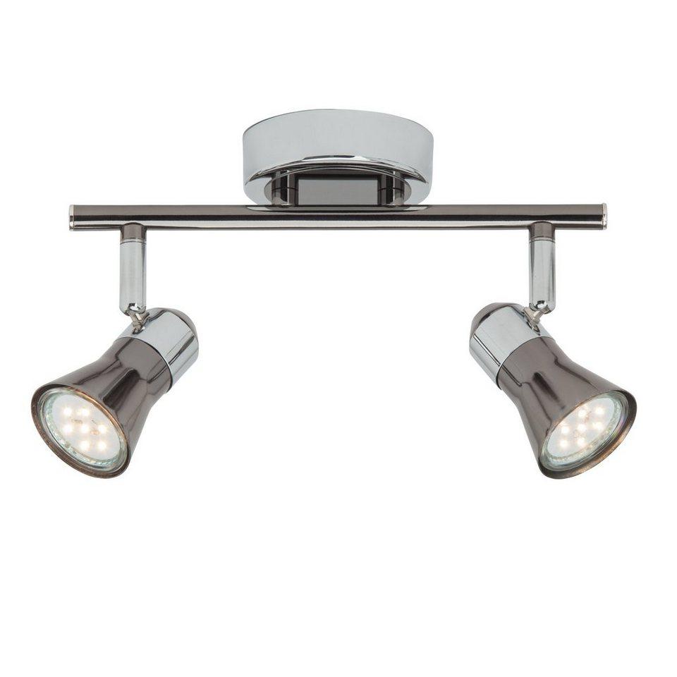 Brilliant Leuchten Jupp LED Spotrohr, 2-flammig chrom/schwarz in chrom/schwarz