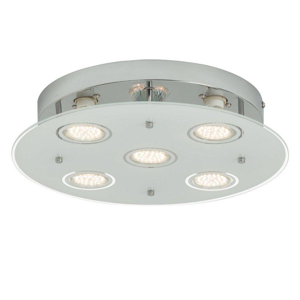 Brilliant Leuchten Gudy LED Deckenleuchte, 5-flammig chrom/transparent mattglas in chrom/transparent