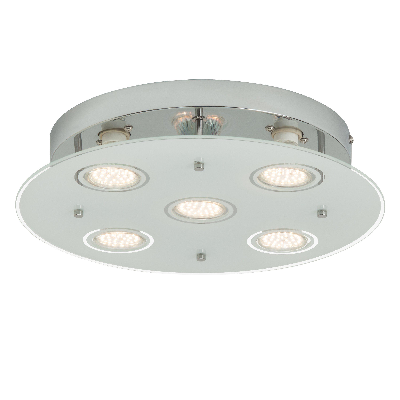 Brilliant Leuchten Gudy LED Deckenleuchte, 5-flammig chrom/transparent mattglas