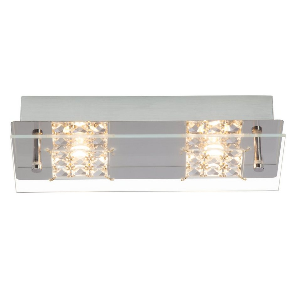 Brilliant Leuchten Martino LED Wand- und Deckenleuchte, 2-flammig chrom/transparent in chrom/transparent