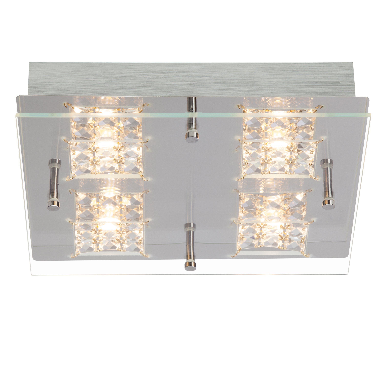 Brilliant Leuchten Martino LED Wand- und Deckenleuchte, 4-flammig chrom/transparent