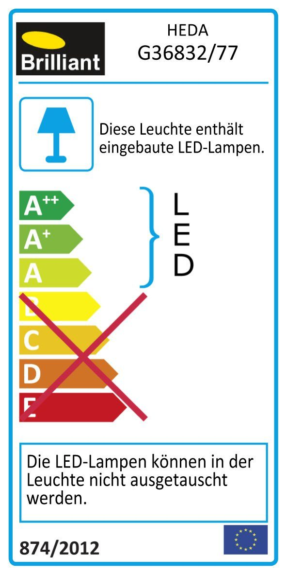 Brilliant Leuchten Heda LED Spotrohr, 4-flammig eisen/chrom