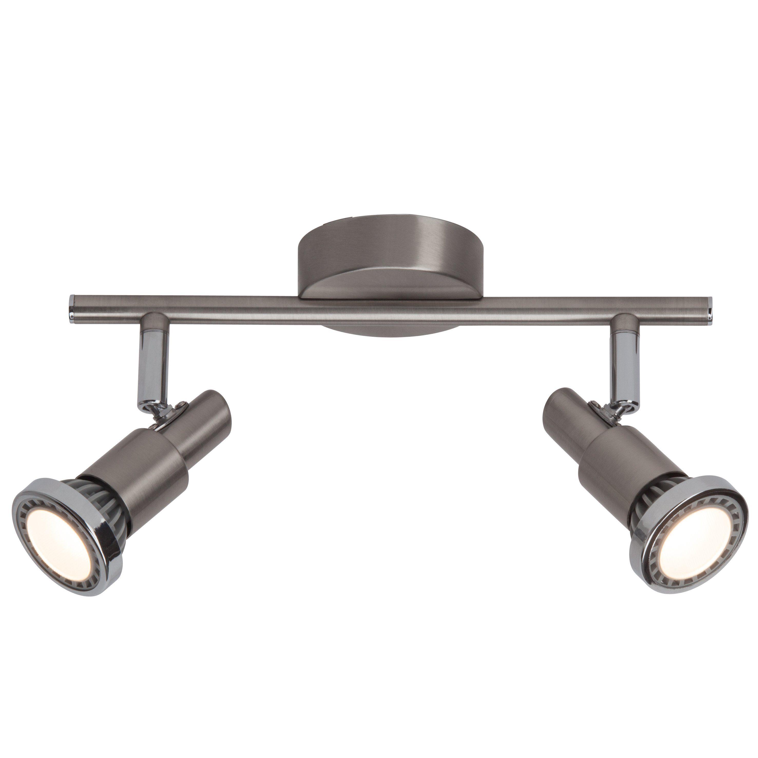 Brilliant Leuchten Ryan LED Spotrohr, 2-flammig eisen/chrom/weiß