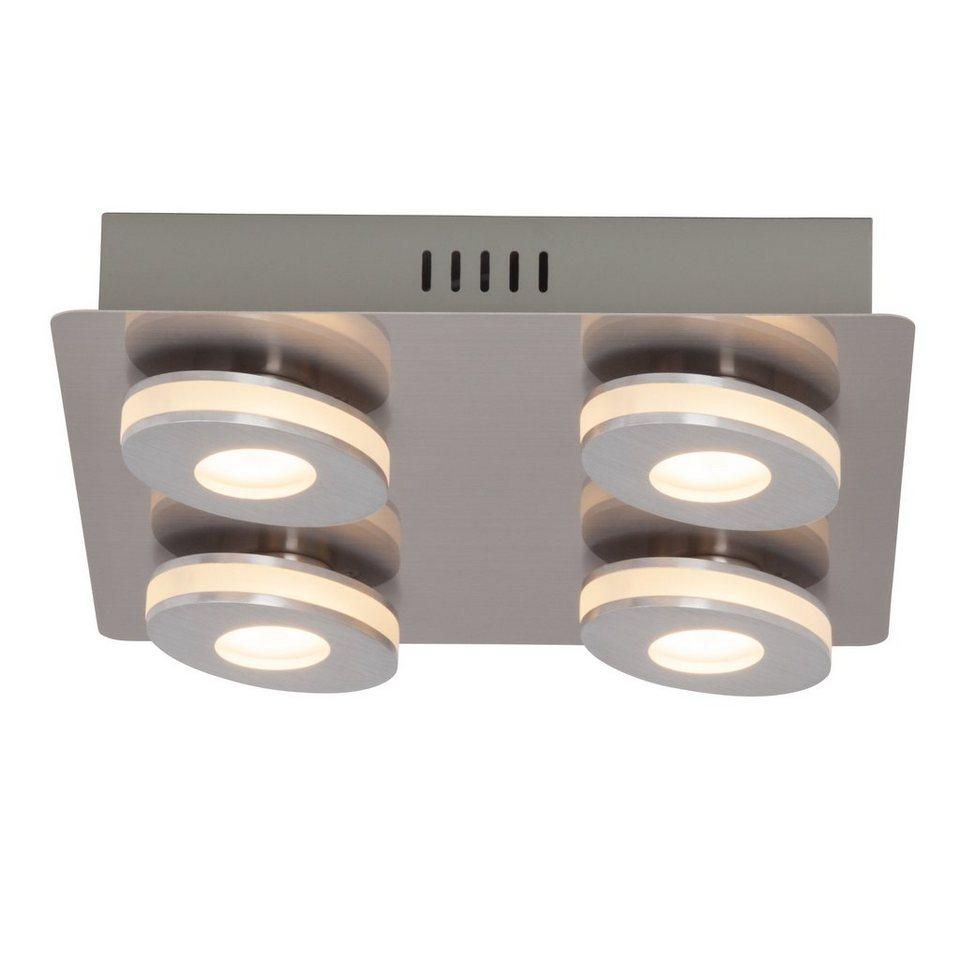 Brilliant Leuchten Crossing LED Wand- und Deckenleuchte, 4-flammig nickel/alu in nickel/alu