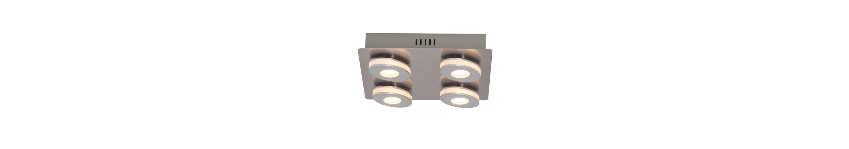 Brilliant Leuchten Crossing LED Wand- und Deckenleuchte, 4-flammig nickel/alu