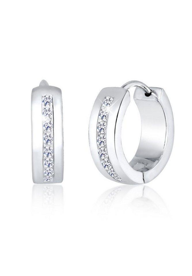 Elli Ohrringe »Creolen Zirkonia Basic Glamour Elegant 925 Silber« in Weiß