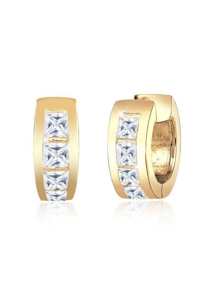 Goldhimmel Ohrringe »Creolen Zirkonia Kristalle 925 Silber vergoldet« in Weiß