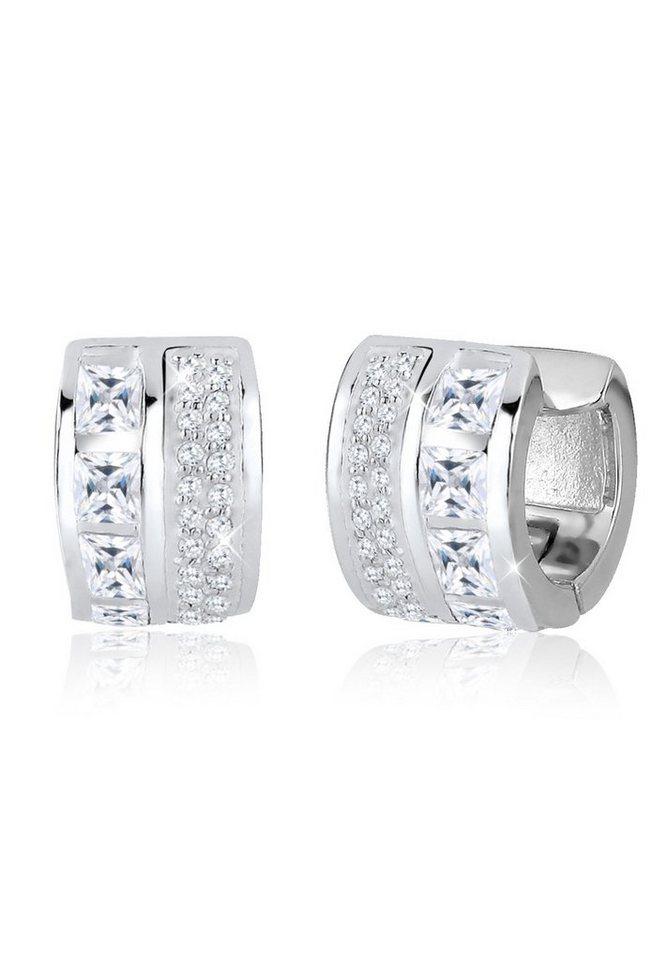 Elli Ohrringe »Creolen Elegant Zirkonia 925 Sterling Silber« in Weiß