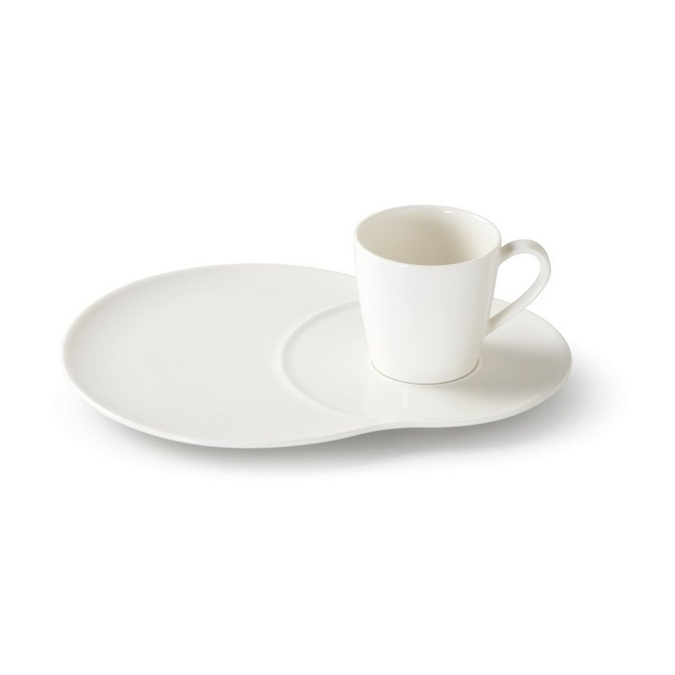 VIVO - VILLEROY & BOCH Set Teller+Tasse 4 tlg. »Voice Basic« in Weiss