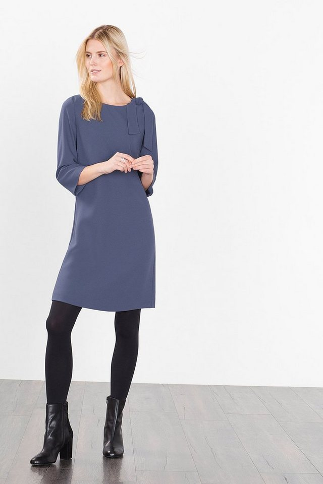 ESPRIT COLLECTION Fließendes Crepe-Kleid mit Schleife in GREY BLUE