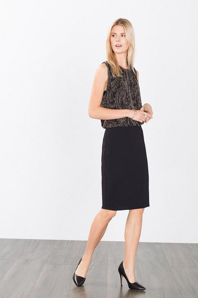 ESPRIT COLLECTION Stretch-Kleid mit goldenem Paisley-Muster in BLACK