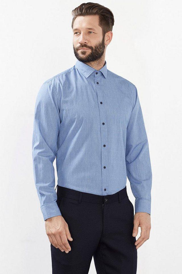ESPRIT COLLECTION Baumwoll Hemd mit feinem Strukturmuster in LIGHT BLUE