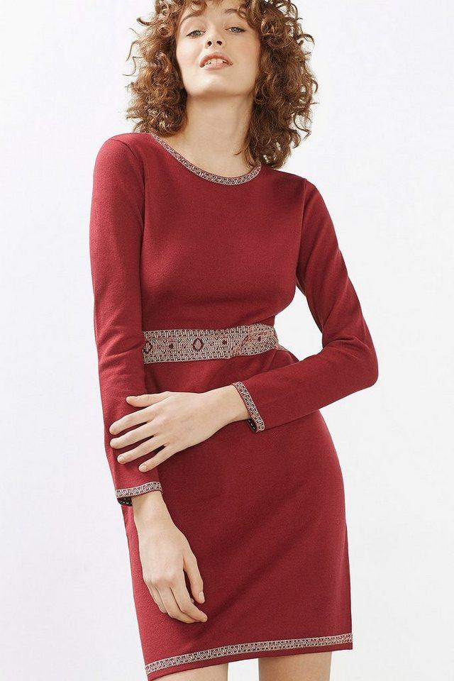 EDC Jacquard Kleid aus Feinstrick in BORDEAUX RED