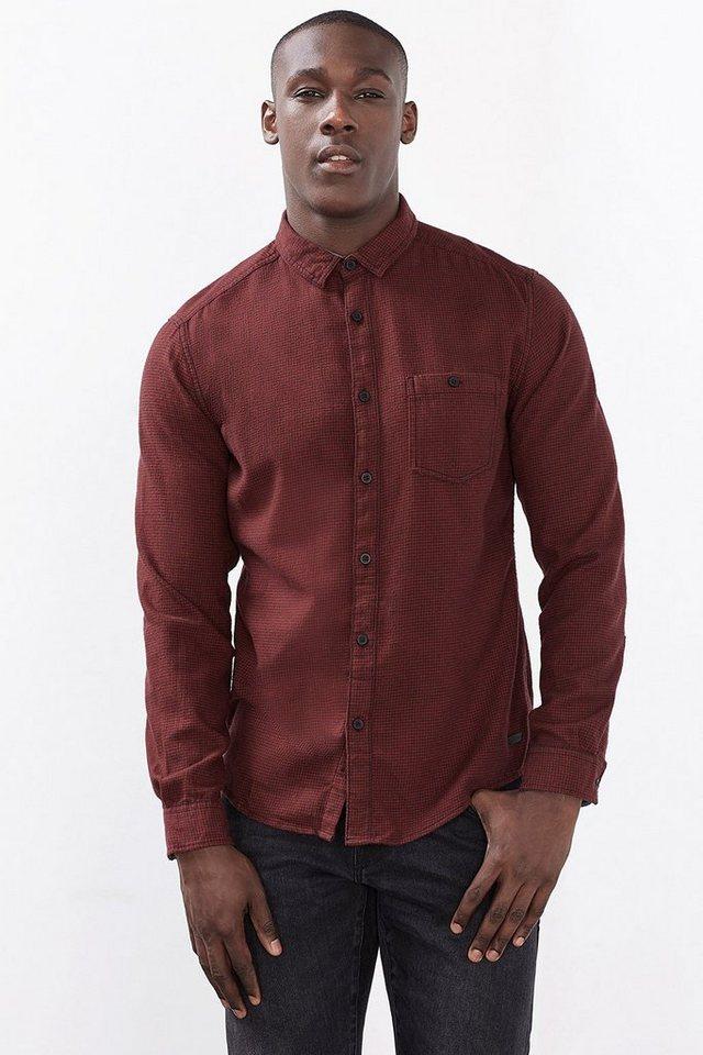 EDC Hahnentritt Hemd, 100% Baumwolle in GARNET RED
