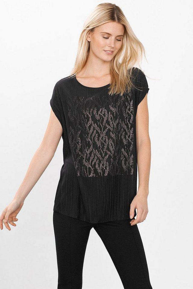 ESPRIT COLLECTION Plissee Shirt mit Glanzapplikation in BLACK