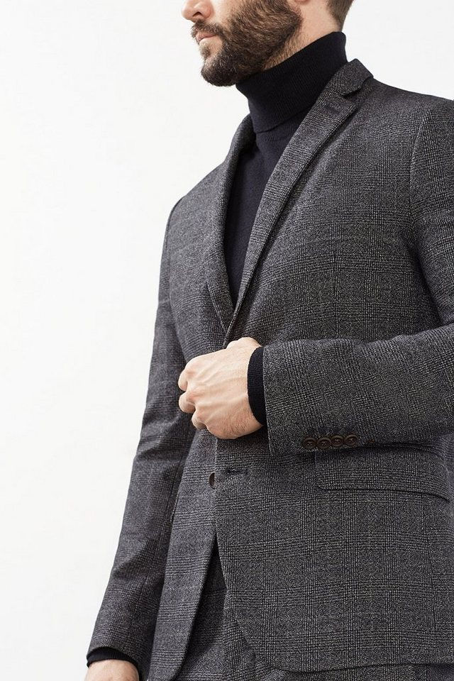 ESPRIT COLLECTION Karo Blazer aus weichem Baumwoll-Mix in ANTHRACITE