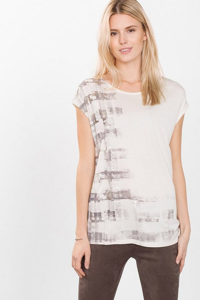 ESPRIT COLLECTION Jersey Shirt mit Glanz-Karo-Print in ICE