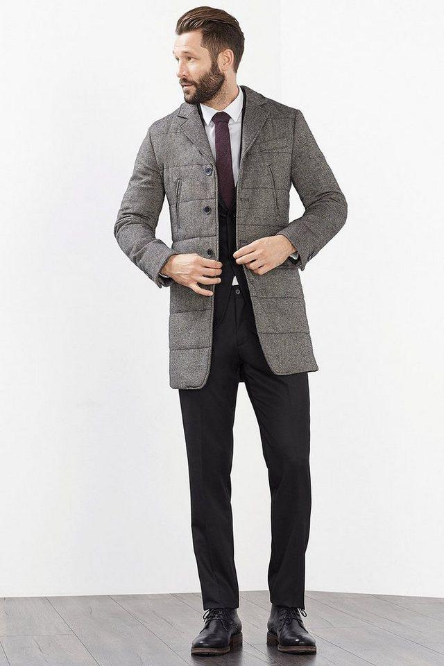 ESPRIT COLLECTION Wattierter Tweed-Coat mit Zip-Off-Einsatz in GREY