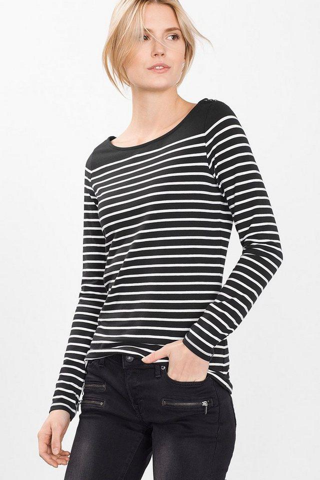 ESPRIT CASUAL Ringel-Longsleeve aus Baumwolle/Stretch in BLACK
