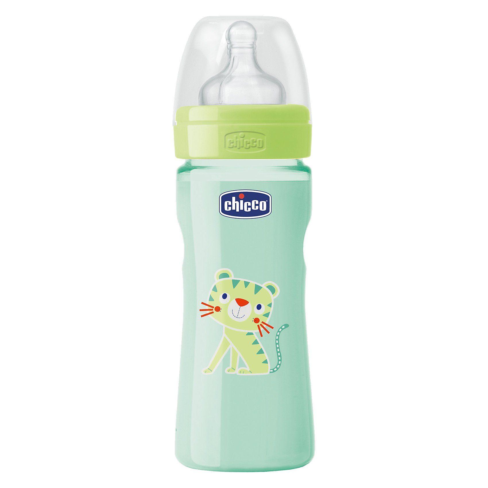 CHICCO Weithals Flasche Wohlbefinden, Coloured, PP, 250 ml, Silikon