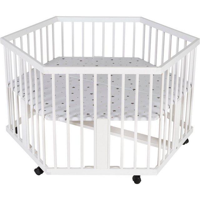 Schardt Laufgitter Solitär, 6-eckig, Motiv Sternchen grau, weiß lack   Kinderzimmer > Babymöbel > Lauf- & Schutzgitter   Schardt