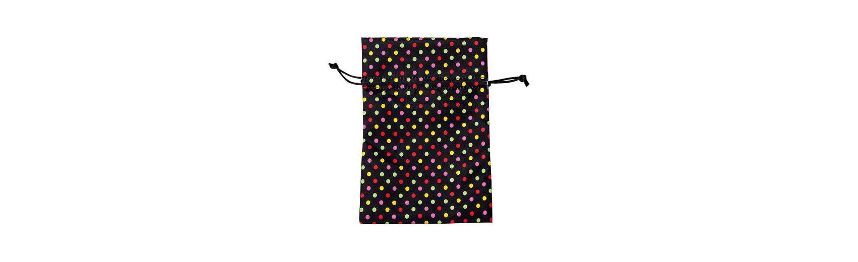 Hotex Stoffbeutel 13 x 18 cm Punkte schwarz-bunt, 12 Stück