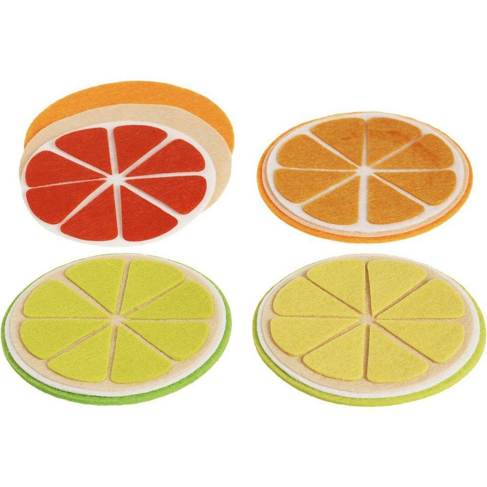 SUNNYSUE Filz-Kreativset Untersetzer Zitrusfrüchte, 4 Stück