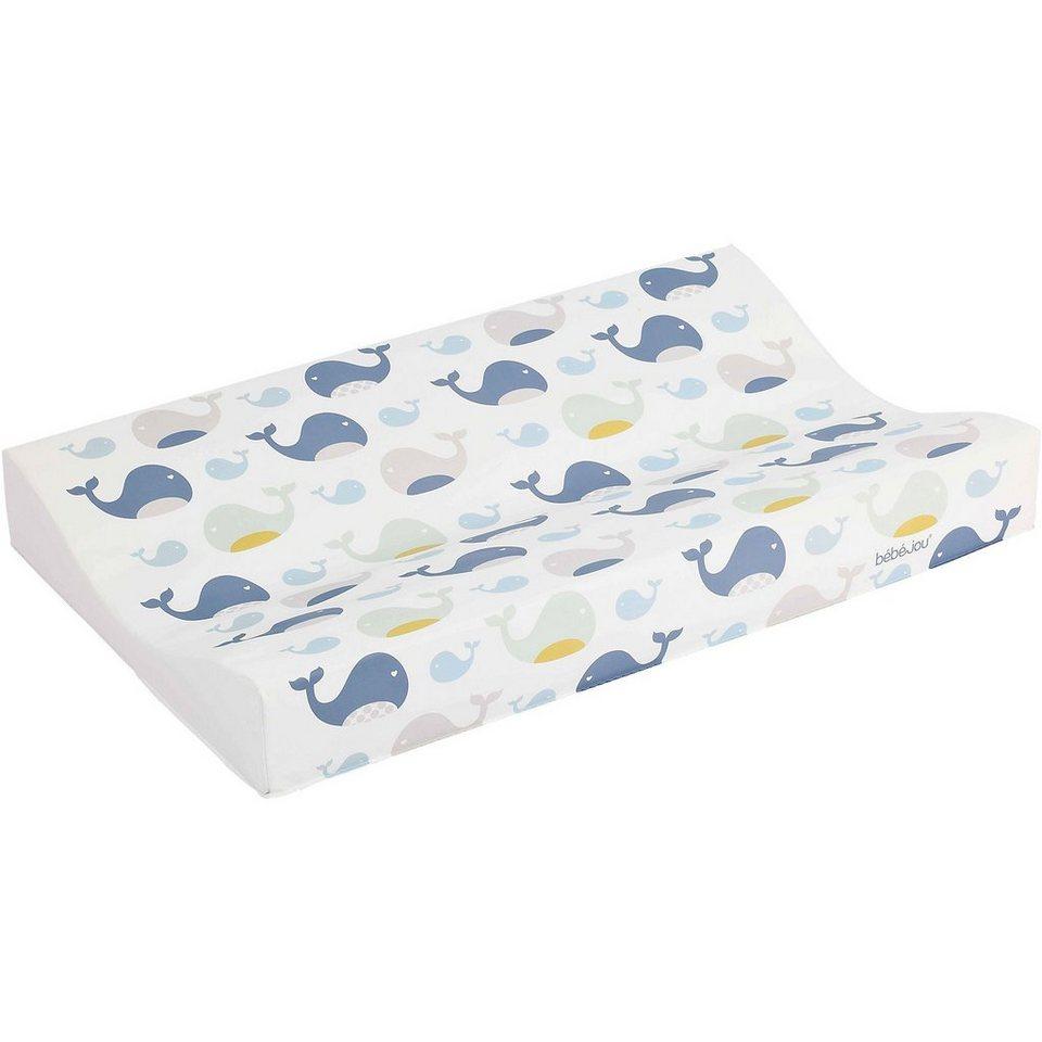 bébé-jou Keil- Wickelauflage Komfort, Wally Whale, blau, 71 x 44 cm in blau