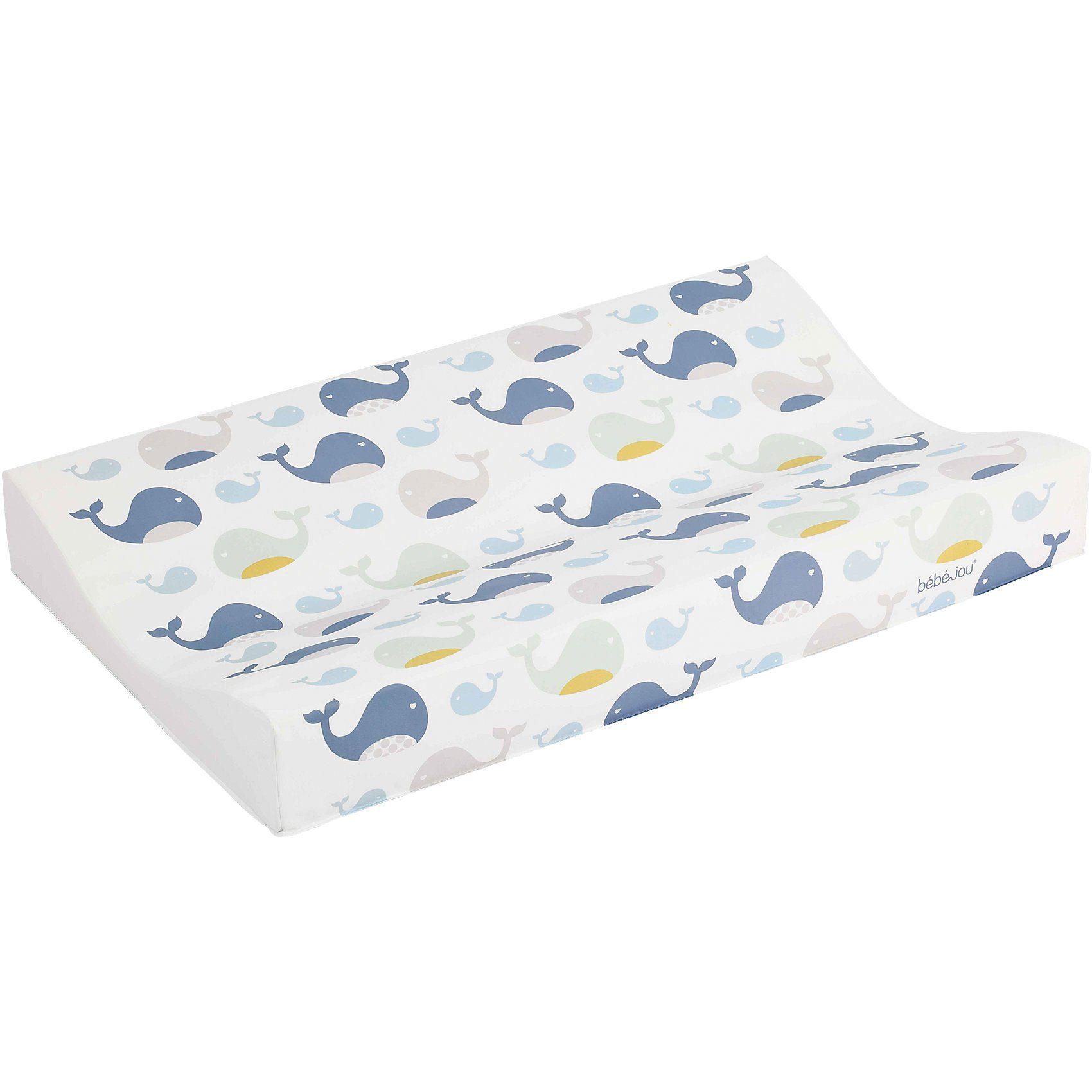 bébé-jou Keil- Wickelauflage Komfort, Wally Whale, blau, 71 x 44 cm