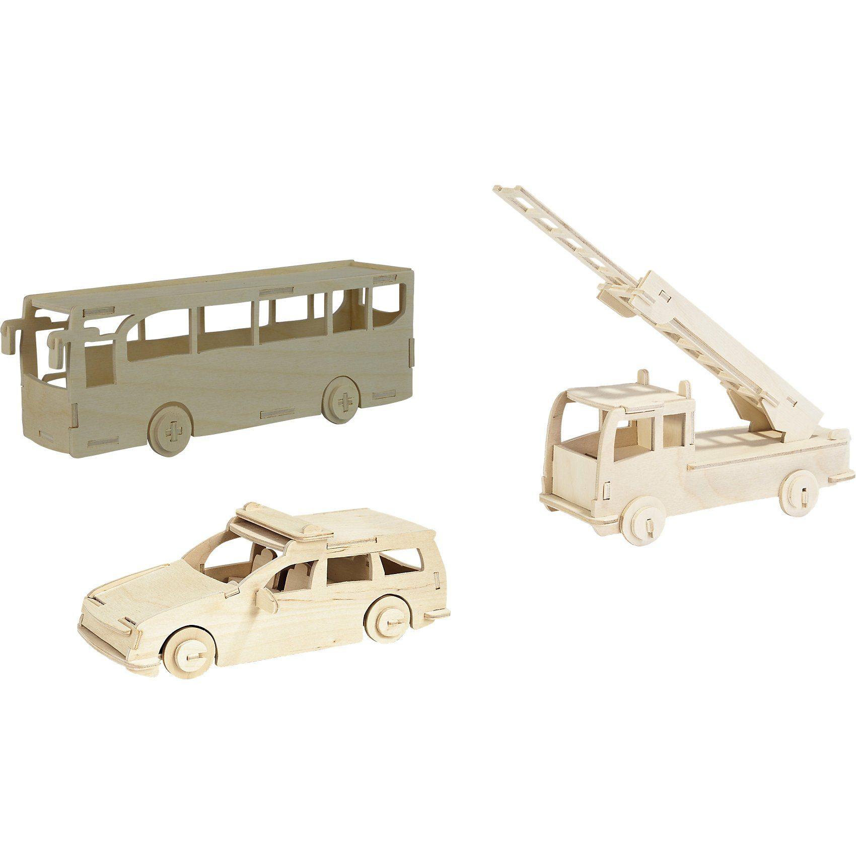 Pebaro Holzbausatz-Set Feuerwehr, Polizei, Bus