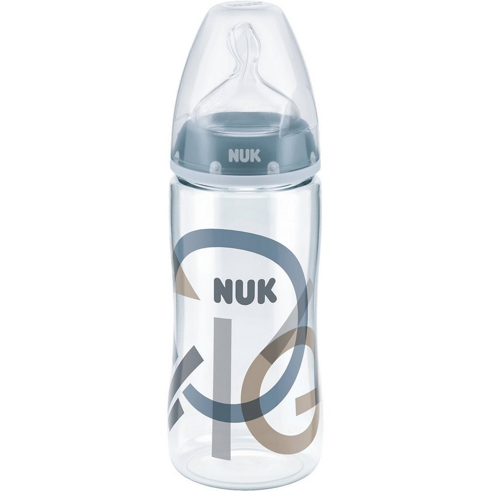 NUK Weithals Flasche FIRST CHOICE+, PA, 300 ml, Silikonsauger Gr in blau