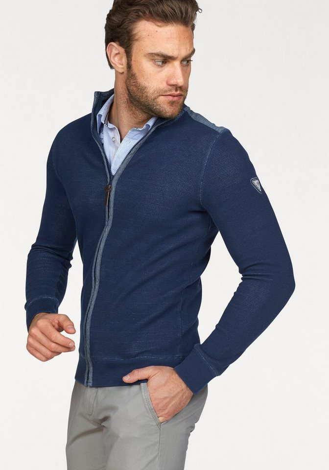 Rhode Island Sweatjacke in Waffelstruktur-Optik in blau