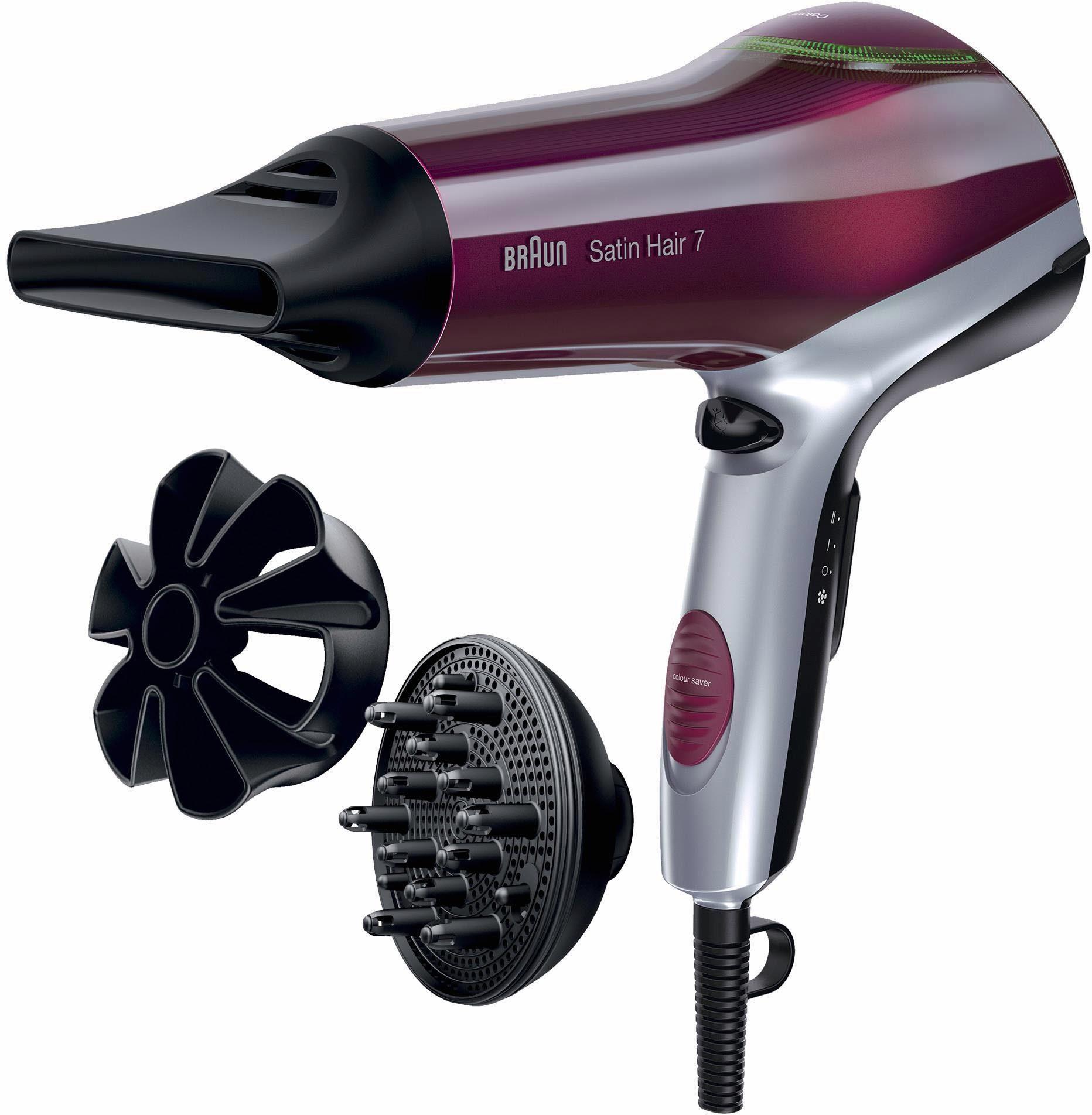 Braun Haartrockner HD 770, Satin Hair 7, mit IONTEC und Colour Saver Technologie (inkl. Aufsatz)