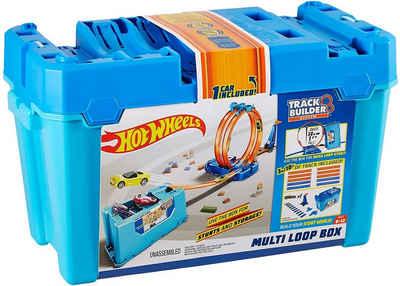 Mattel® Spielzeug-Auto »Hot Wheels FLK90 - Track Builder Stunt Builder Super Multi Looping Box inkl. 1 Auto«, (Set)