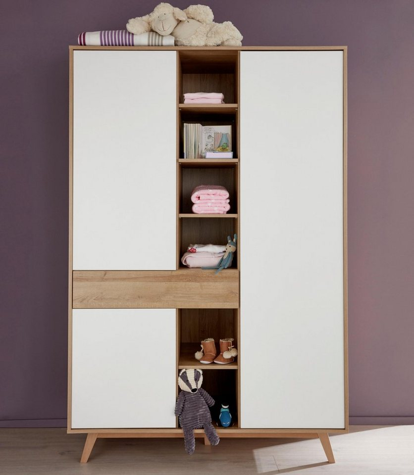 kleiderschrank passend zur babym belserie berlin in eiche nb wei online kaufen otto. Black Bedroom Furniture Sets. Home Design Ideas