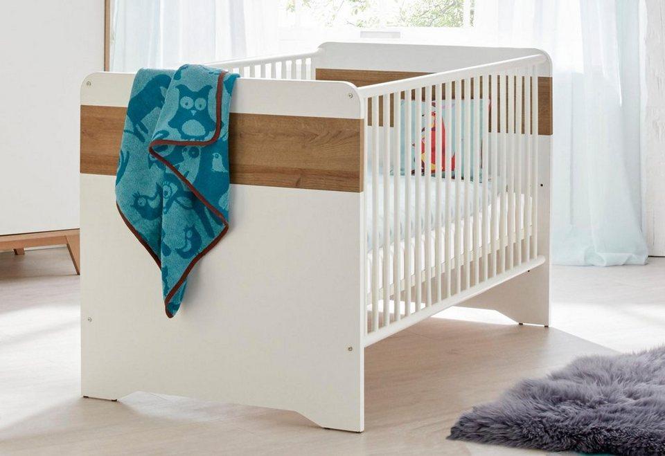 Babybett passend zur Babymöbelserie »Berlin« in weiß/eiche NB in weiß/eiche NB