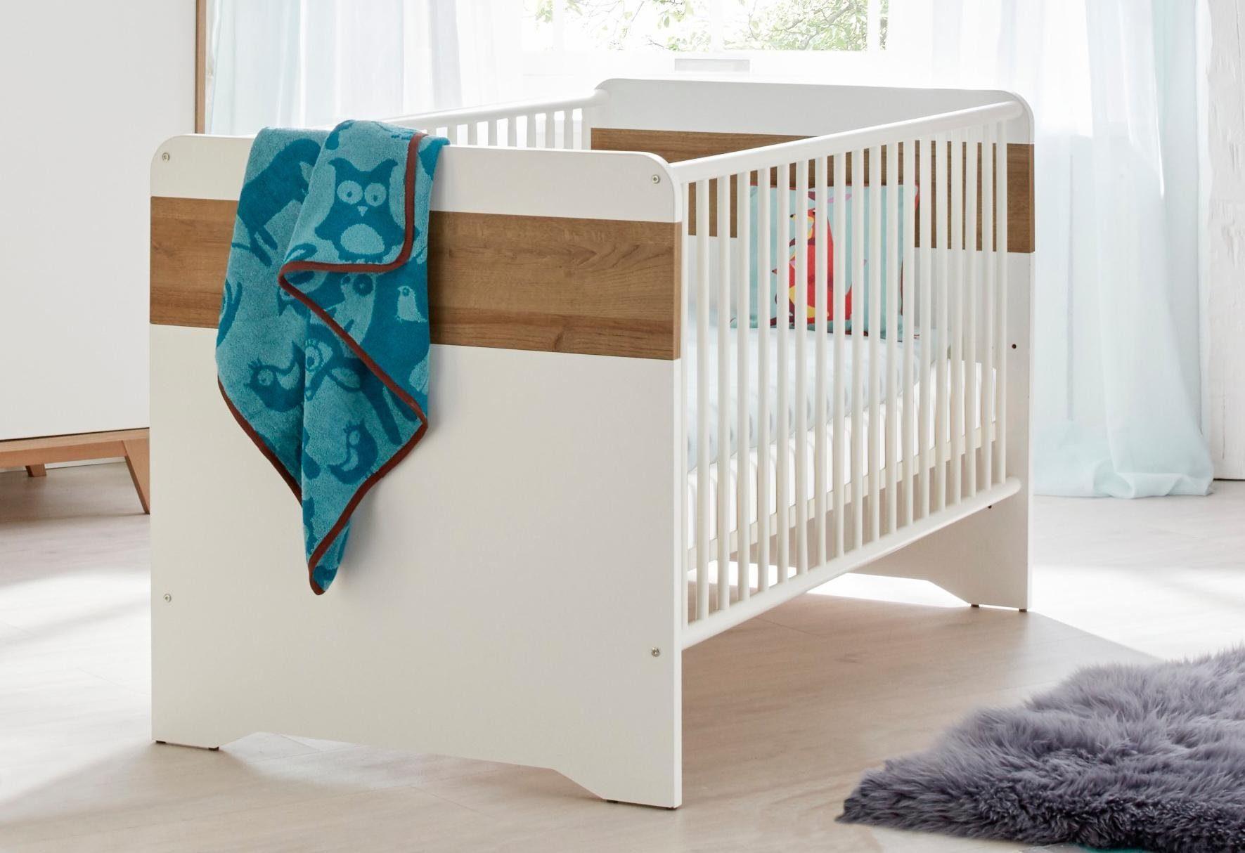 Babybett passend zur Babymöbelserie »Berlin« in weiß/eiche NB