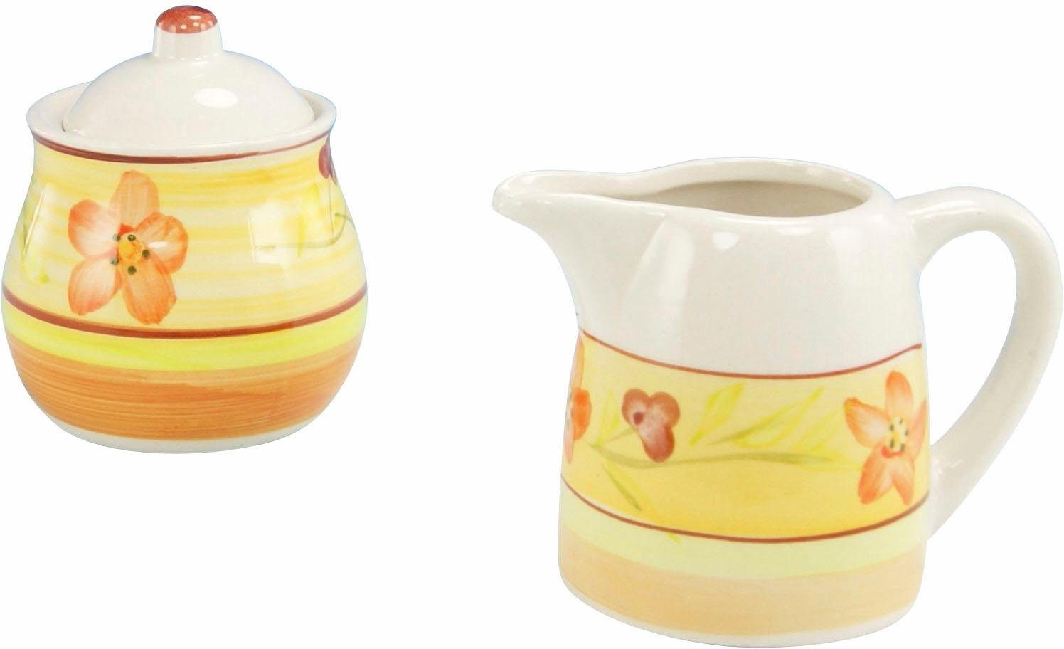 Creatable Steingut Milch/Zucker-Set, »Flower Serenade Summer« (2-tlg.)
