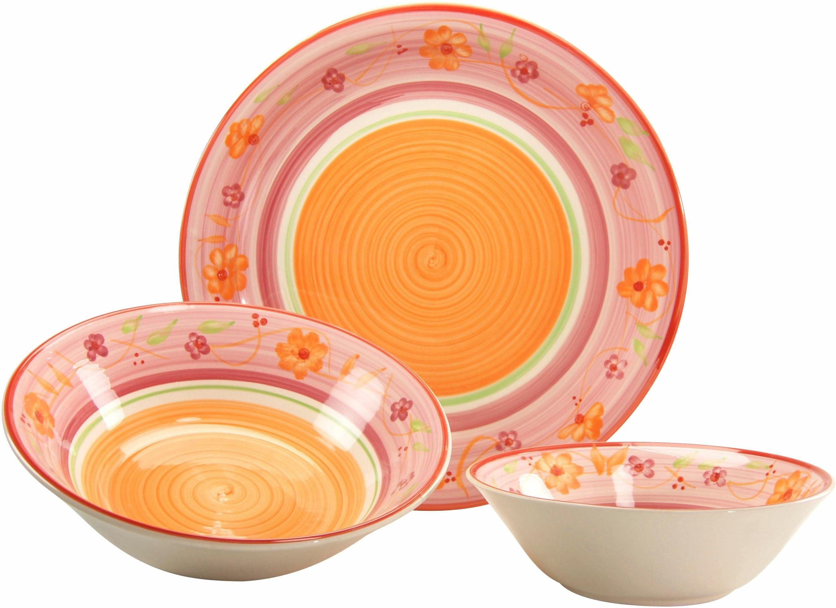 Creatable Steingut Servier-Set, »Flower Serenade Viva« (3-tlg.)