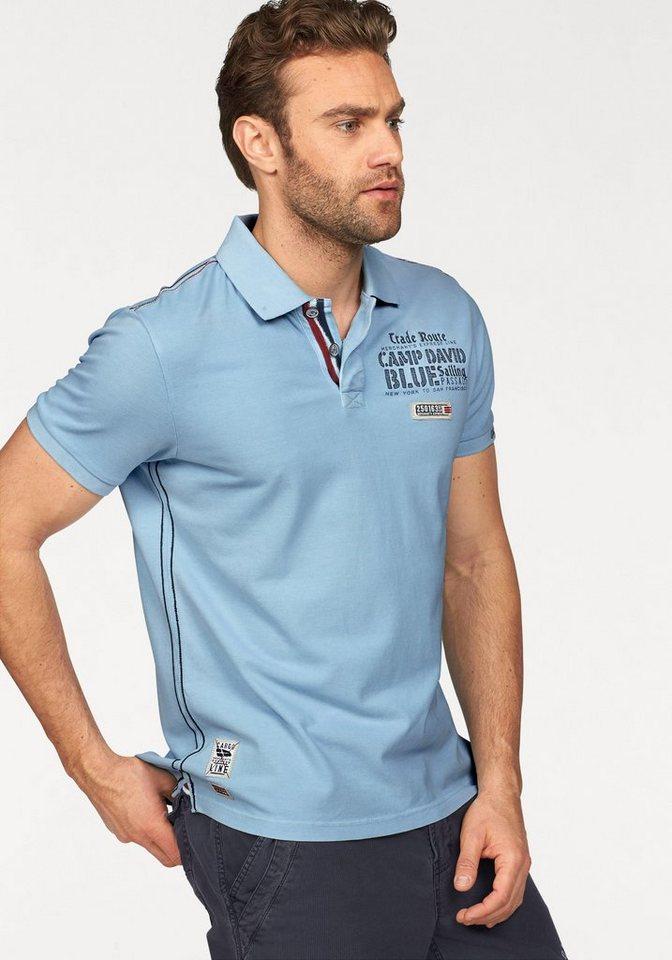 CAMP DAVID Poloshirt Bestickter Ärmelabschluss in hellblau