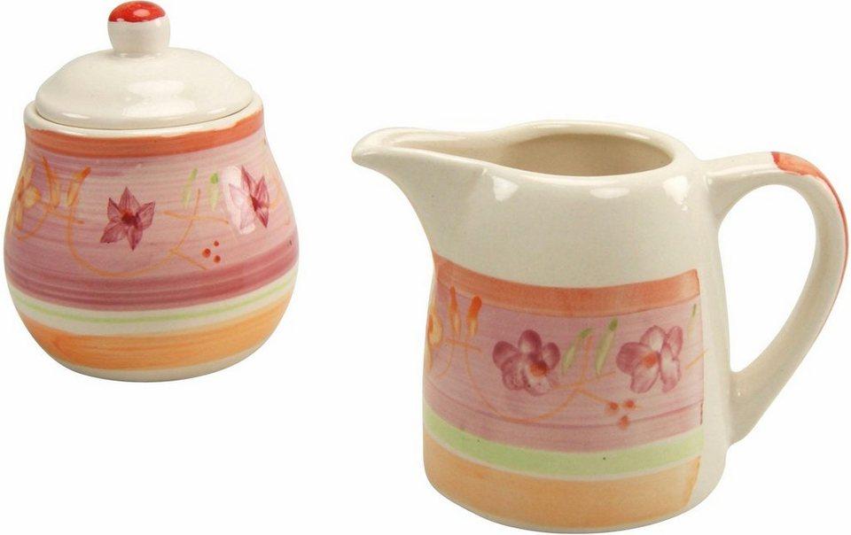 Creatable Steingut Milch/Zucker-Set, »Flower Serenade Viva« (2-tlg.) in orange