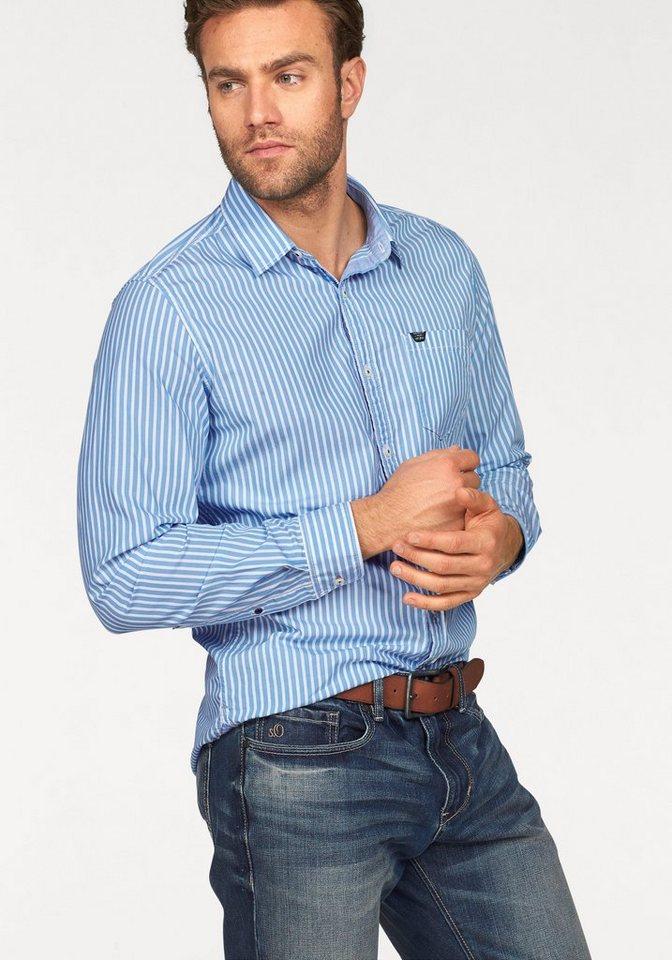 s.Oliver RED LABEL Streifenhemd in hellblau-weiß-gestreift