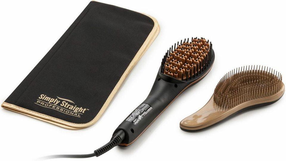 Genius Haar-Glättbürste Simply Straight Professional, inkl. Entwirrbürste & hitzeresistente Matte in schwarz/gold