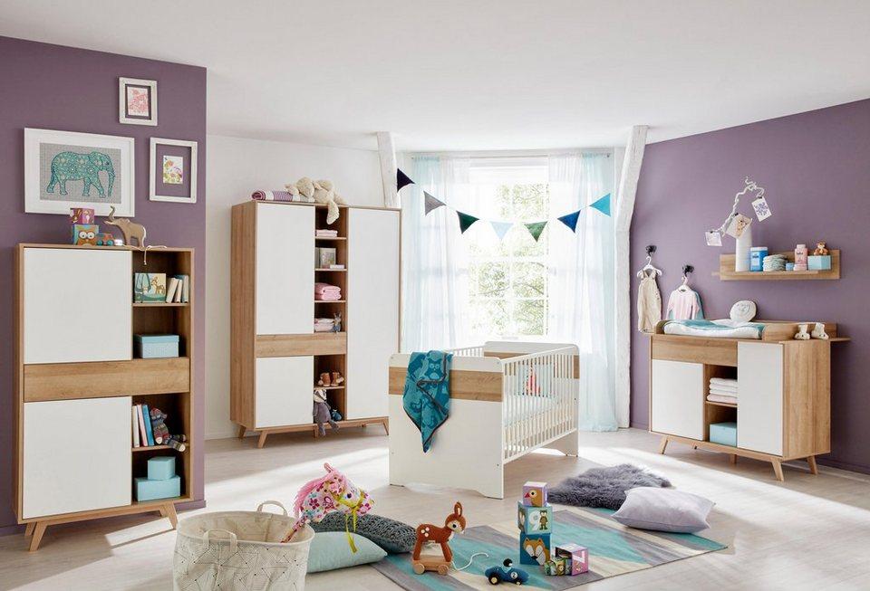 Komplettzimmer »Berlin« Babybett+ Wickelkommode+Kleiderschrank+ Beistellschrank+Wandboard (5-tlg) in eiche NB/weiß