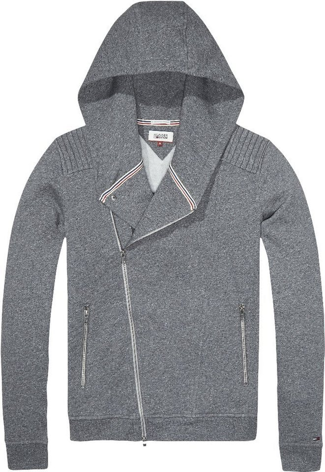 Hilfiger Denim Sweatshirt »THDM BIKER HD ZIPTHRU HKNIT L/S 20« in LT GREY