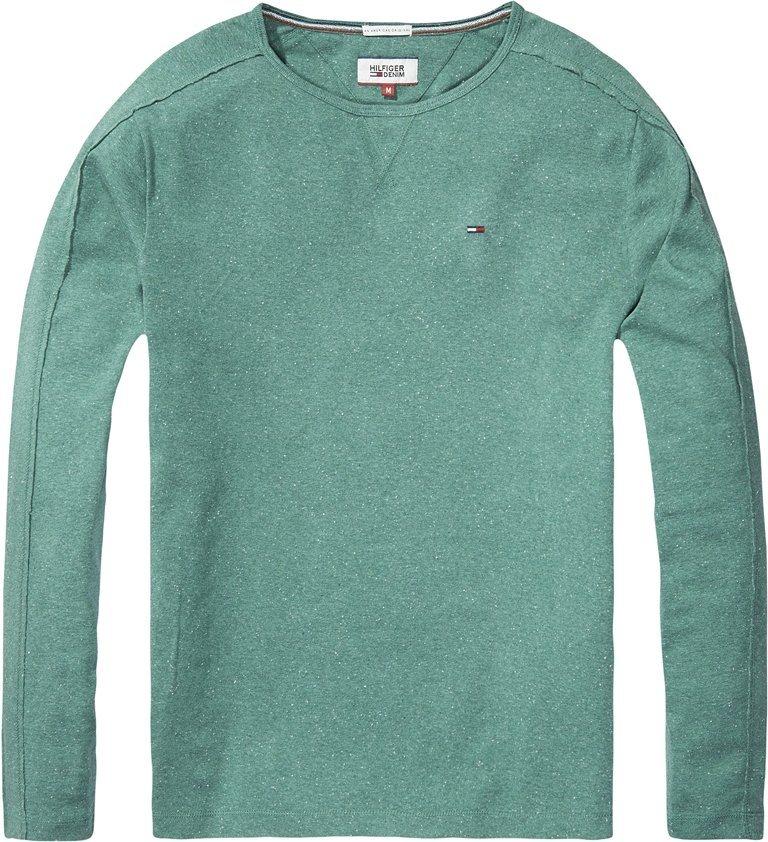Hilfiger Denim T-Shirt (langarm) »THDM CN KNIT L/S 10« in BLUE SPRUCE